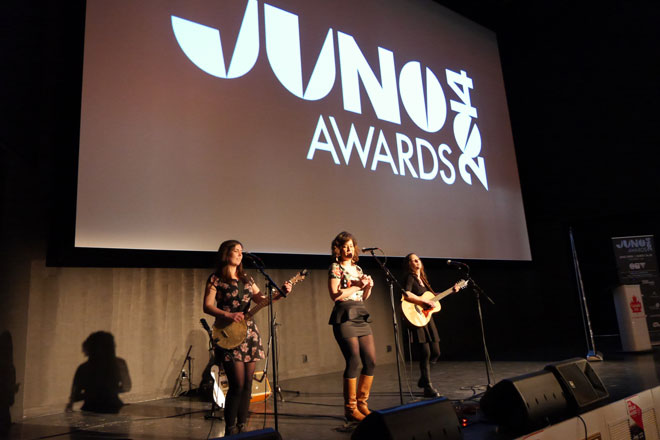 Sweet Alibi performers at The 2014 JUNO Awards news conference on February 25
