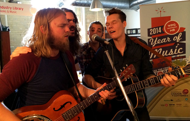 2014 WCMA nominees The Bros. Landreth perform at the June 4 nominee announcement at Manitoba Music