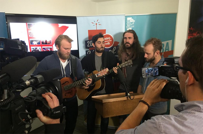 The Bros. Landreth serenade the Year of Music news conference