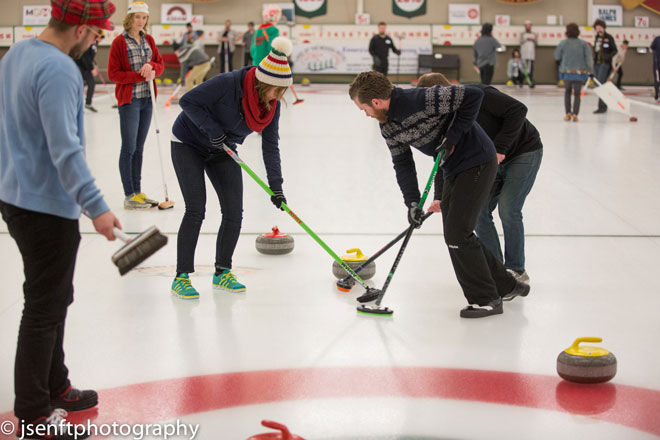 Curlers in action at the 2015 Manitoba Music Rocks Charity Bonspiel (Photo: J.Senft Photography)