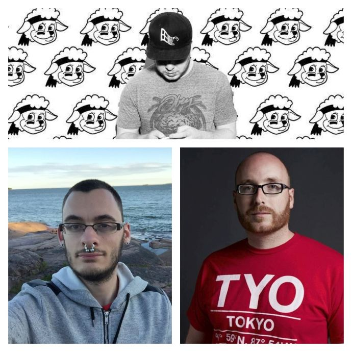 Clockwise from top left: LAMBO, Andrew Ryce, John Norman