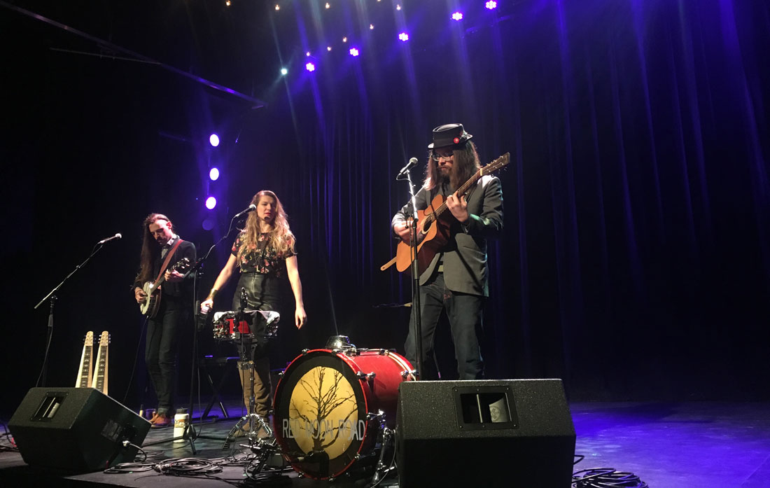 Red Moon Road performs at the Winnipeg Folk Festival line-up announcement at The Park Theatre