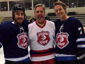 JP Hoe, Perry Miller, Jim Cuddy at the Jan 23 JUNO Cup announcement in Winnipeg (Photo: Melissa Courcelles / We Speak Music)
