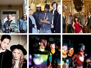 Clock from top left: KEN mode, Grand Analog, Little Miss Higgins & The Winnipeg Five, Royal Canoe, Mise en Scene