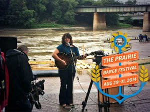 Sol James performs at the Prairie Barge Festival announcement