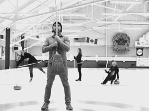 JP Hoe, Andrina Turenne, Donna Evans, and Jenna Khan in one of this year's curling videos