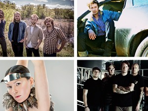 Clockwise from top left: The Bros. Landreth, Del Barber, Tanya Tagaq, Comeback Kid