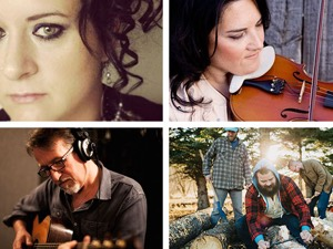 Clockwise from top left: Jocelyne Baribeau, Patti Kusturok, Crooked Brothers, Steve Bell