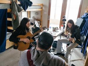 Bobby Desjarlais, Quinton Blair, and Adrian Dyer at the 2015 Songwriter Retreat (Photo: Samanta Katz)