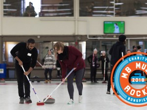 Some action on the ice at the 2017 Manitoba Music Rocks Charity Bonspiel (Photo: Laurie Brand)
